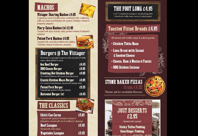 Admiral Taverns menu