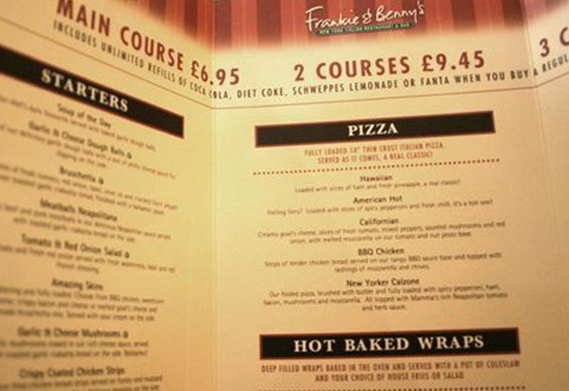 Frankie & Benny's menu