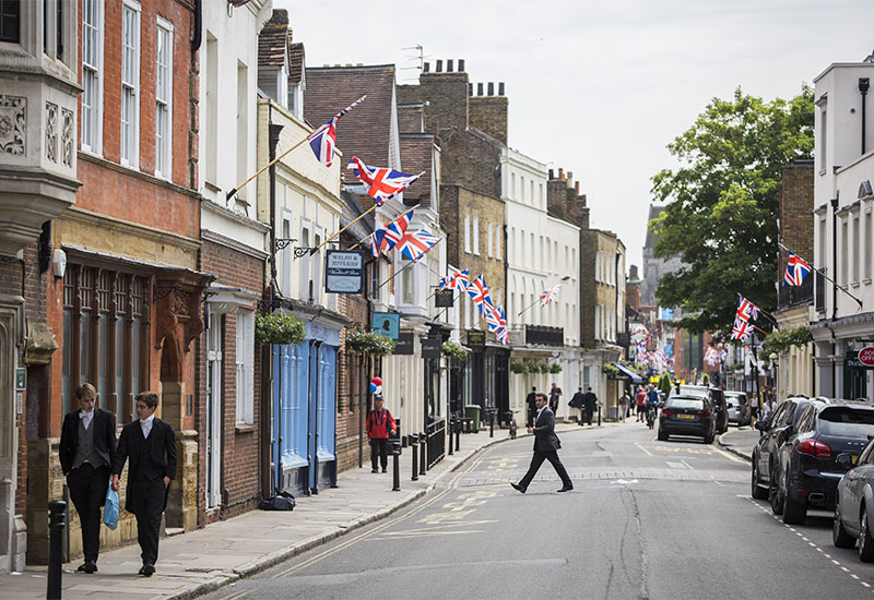 Eton High Street's Tribute To The Queen For Her 90th Birthday