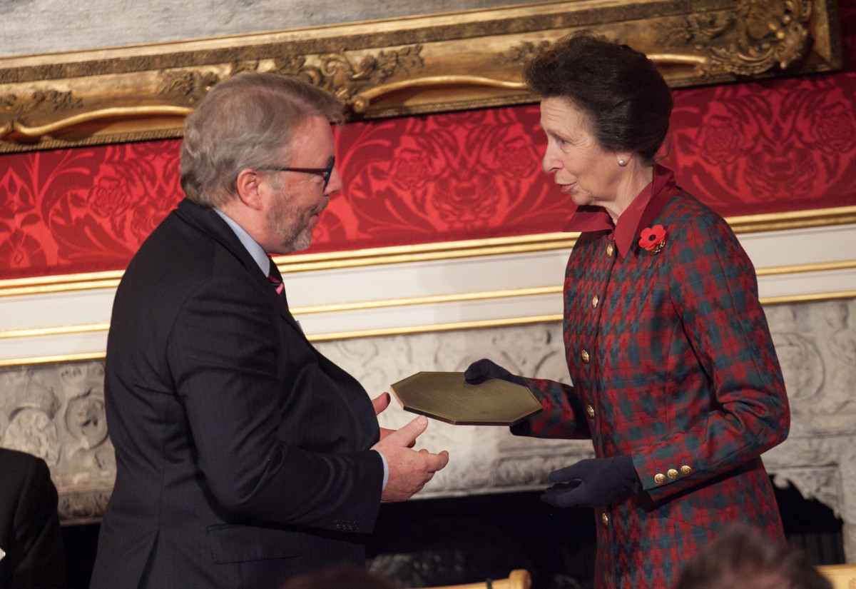 Chris Craggs receiving training award from Princess Anne