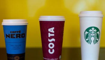 Caffe Nero, Costa and Starbucks cups