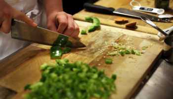 Food ingredients chopping board