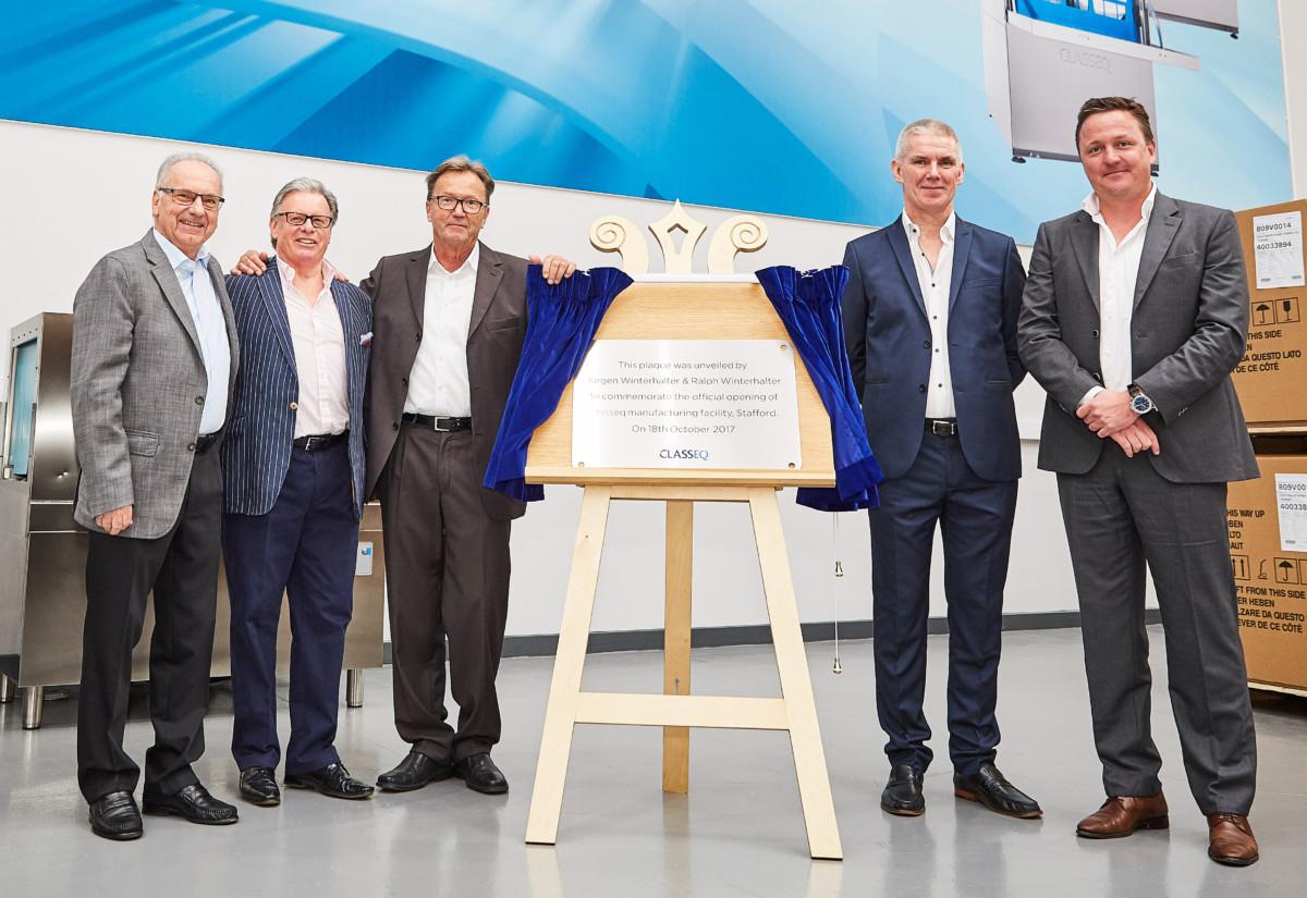 Jurgen Winterhalter (third left) and Ralph Winterhalter (far right) at opening of Classeq manufacturing plant in Stafford