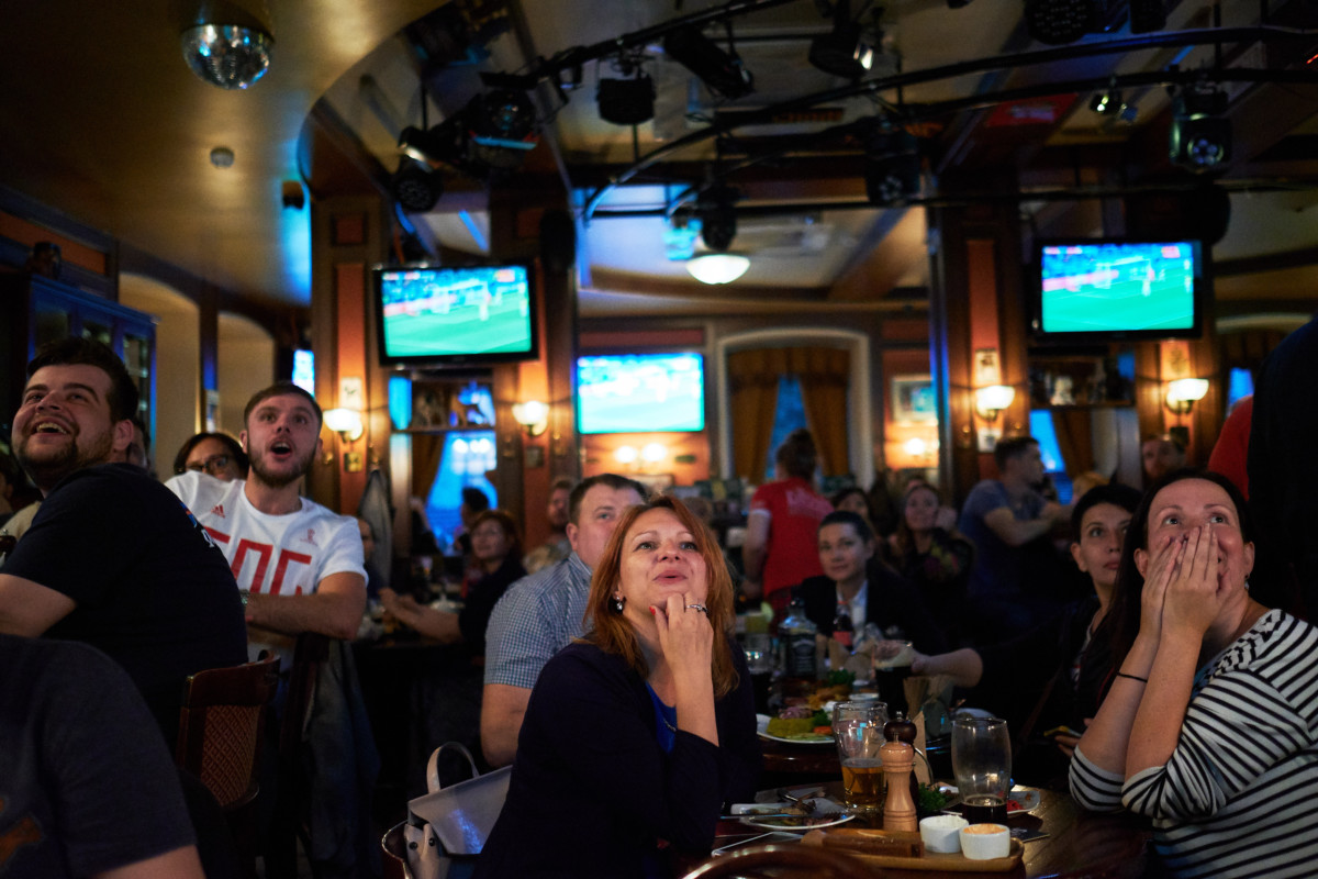 Football fans in pub
