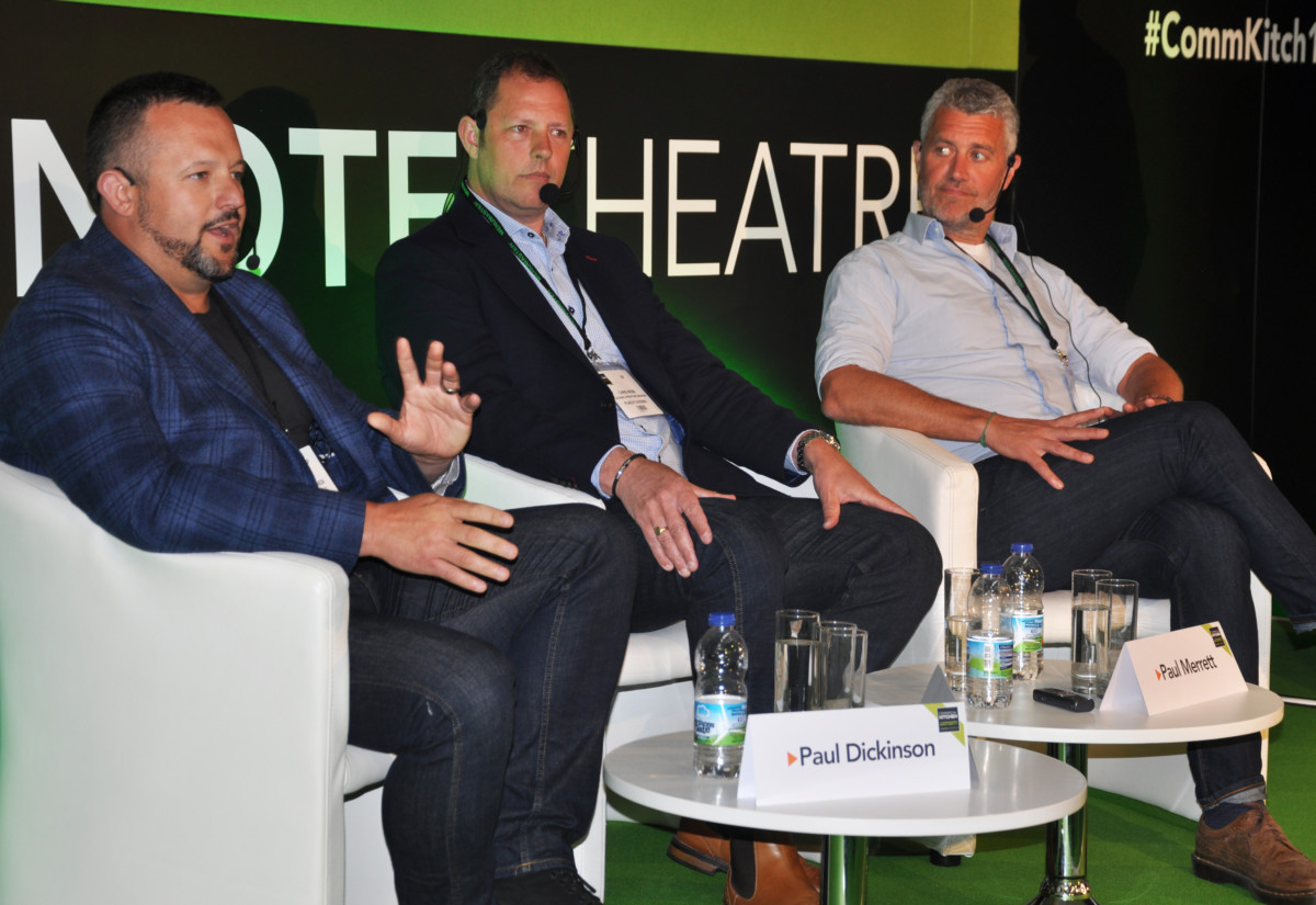 Paul Dickinson, director of food, Fuller's; Chris Webb, catering operations manager, Punch Taverns; Paul Merrett, chef director, The Jolly Fine Pub Group during pub kitchen panel discussion at Commercial Kitchen 2018