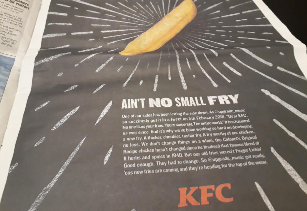 KFC newspaper advert fries