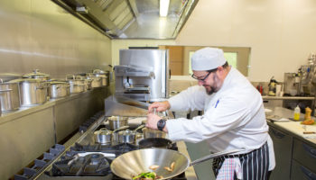 Shaune Hall, development chef in Falcon development kitchen