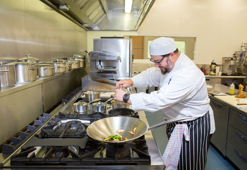 Shaune Hall, development chef in Falcon development kitchen