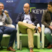 James Taylor, Oliver Rosevear and Martyn Clover during sustainability debate at Commercial Kitchen 2019