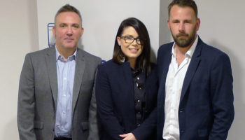 Tim Calvert, national account manager, Lauren Hunter, national account manager and Steven Chadwick, northern area sales manager