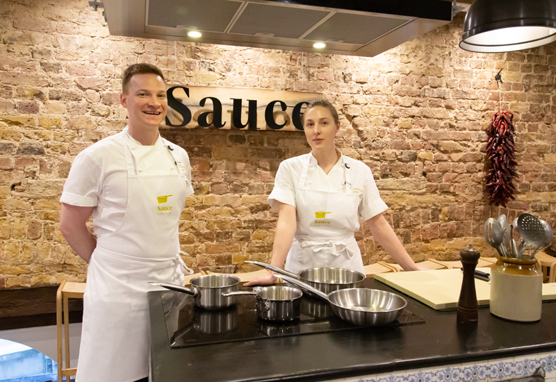 Chris King, executive chef, The Langham and Millie Simpson, kitchen manager, Sauce cookery school