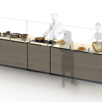Venta buffet tables with Frontshields and Sideshields