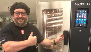 Shaune Hall, product development chef, with Lainox Naboo Boosted combi oven